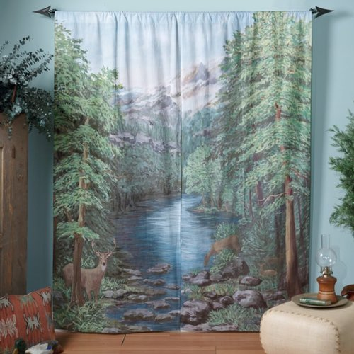 Sweet Home Collection Woodland Crossing Curtain Panel (Set of 2)
