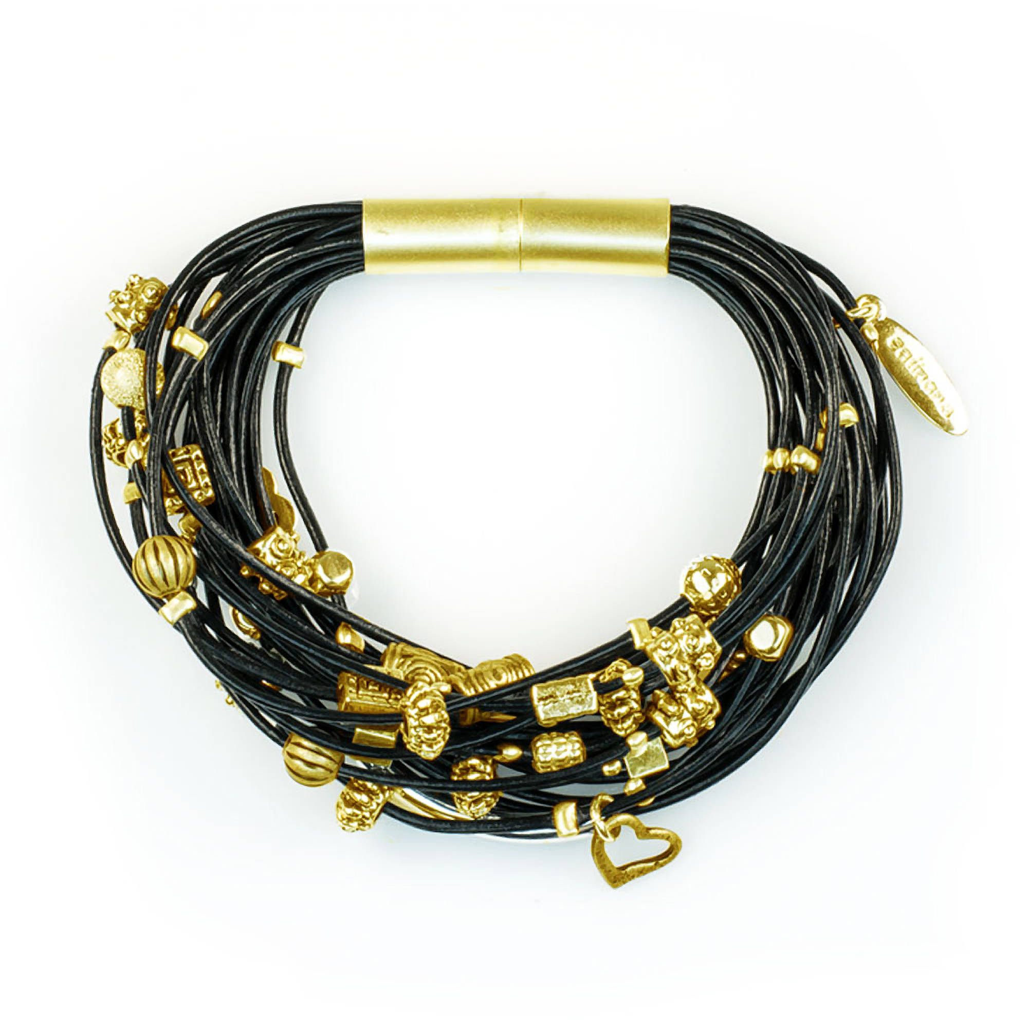 Miss Zoe by Calinana Multi Cord Leather Bracelet, Black/Gold