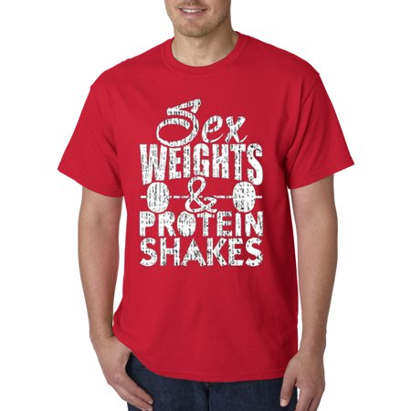 205 - Unisex T-Shirt Sex Weights & Protein Shakes Workout Gym