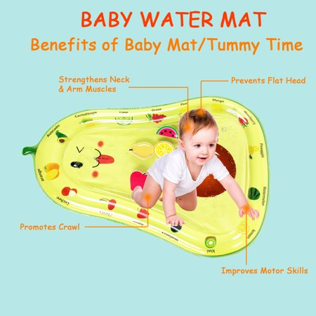Inflatable Baby Water Mat, PVC Water Mat Fun Activity Play Center for Infants & Kids &Toddlers, Early Education Inflatable Patted Water Play Pad Cushion, Avocado Shape - image 2 of 9