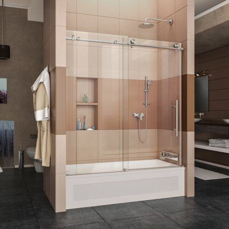 DreamLine Enigma-X 55-59 in. W x 62 in. H Fully Frameless Sliding Tub Door in Brushed Stainless Steel