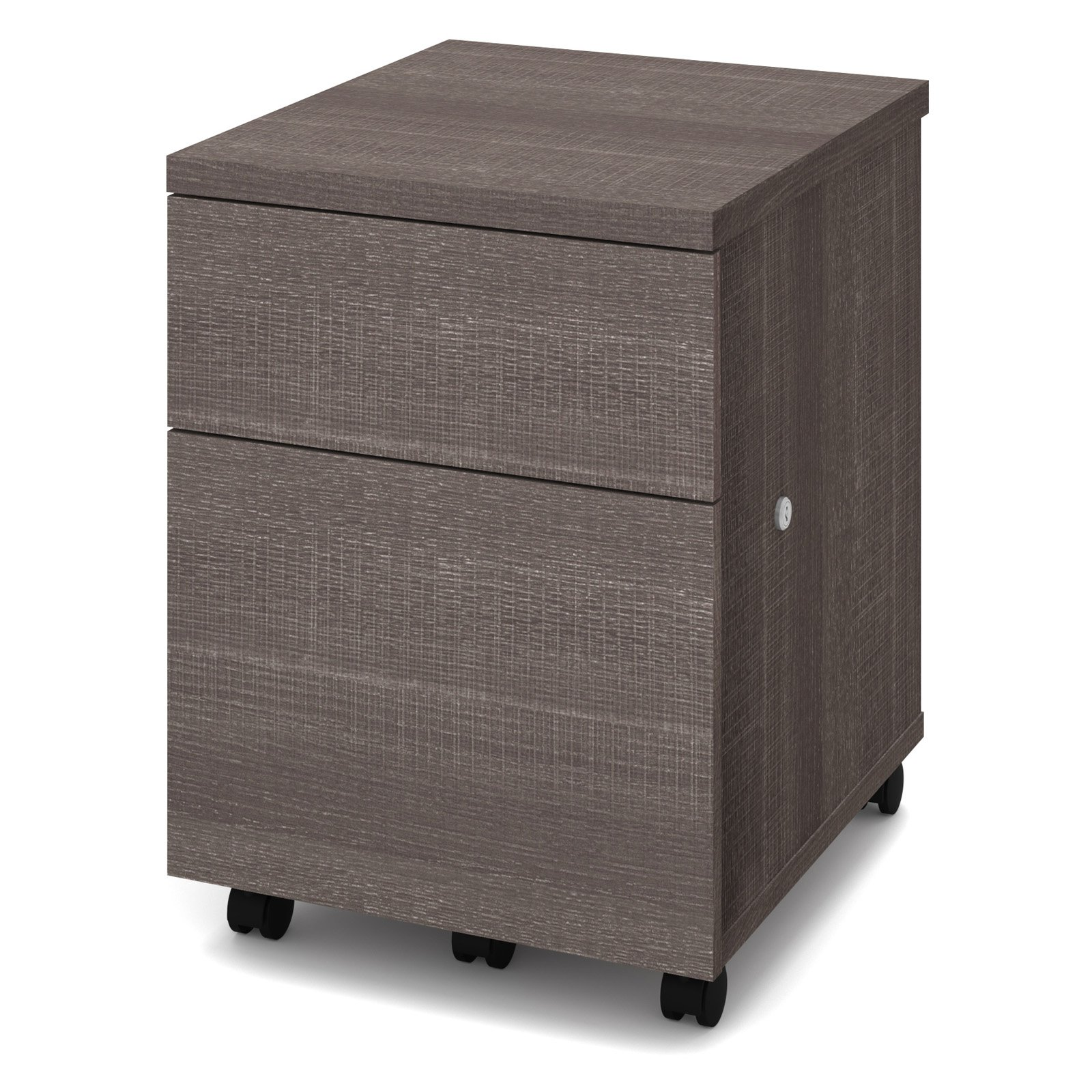 Bestar 2 Drawer Vertical Wood Lockable FileCabinet, Gray by Bestar