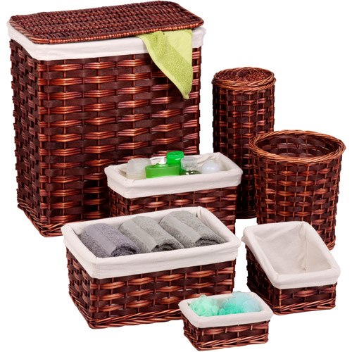 Honey Can Do 7-Piece Wicker Hamper Kit, Brown