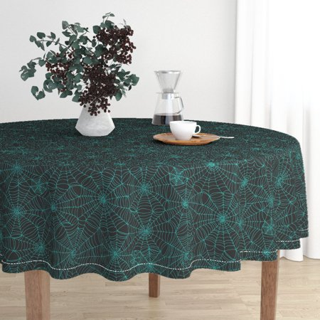 Round Tablecloth Turquoise Spidersweb Spider Web Spiderweb Cotton Sateen](Spider Web Tablecloth)