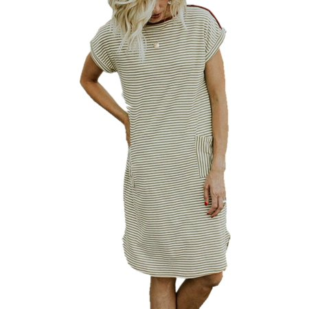Short Sleeve Pure Cotton Striped Women Casual Loose -