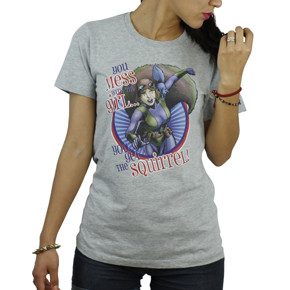 Marvel Squirrel Girl You Mess With The Girl  Women's Grey T-Shirt NEW Sizes M-XL
