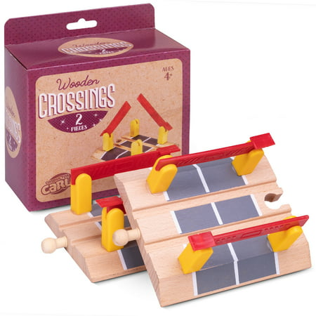 Conductor Carl Train Track Crossings (2-pack) | Wooden Toy Train Accessories - Model Train Crossing