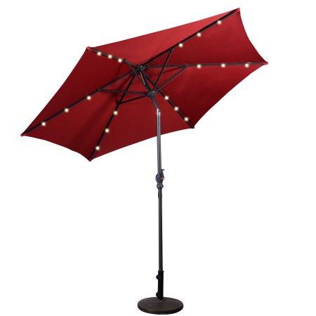 Costway 9ft Patio Solar Umbrella LED Patio Market Steel Tilt W/ Crank  Outdoor (Burgundy