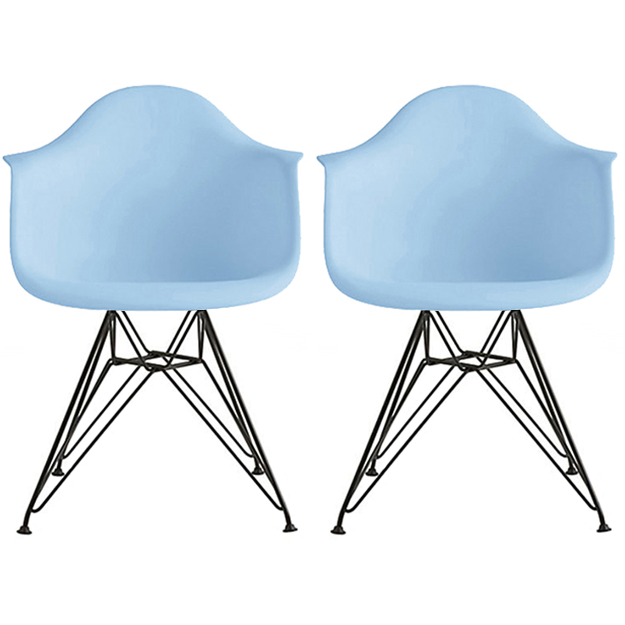 2xhome - Set of 2 (Two) - Blue - Modern Eames Style Armchair Dining Chair Black Wire Leg Eiffel Dining Room Chair with Arm for Living Room Dining Room