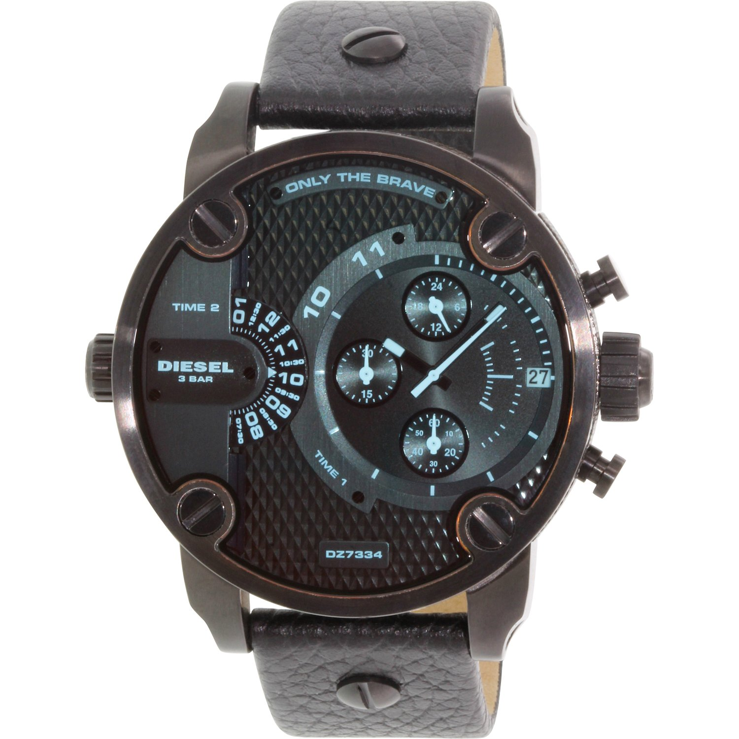 Diesel Men's Little Daddy DZ7334 Black Leather Quartz Dress Watch