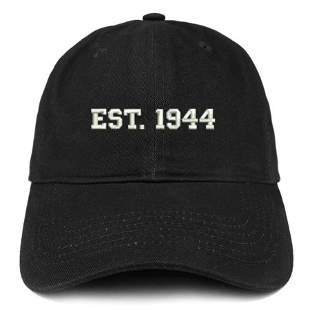 Trendy Apparel Shop EST 1944 Embroidered - 74th Birthday Gift Soft Cotton Baseball Cap - Black
