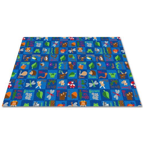 Kid Carpet Animals In The Forest Blue Area Rug