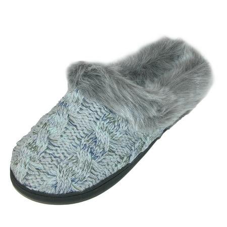 92ea4b863a8 Dearfoams - Dearfoams Women s Cable Knit Clog Slippers with Space-Dye  Accent - Walmart.com