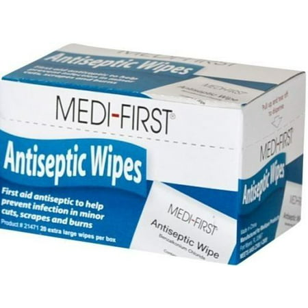 120 Antiseptic Wipes, Benzalkonium Chloride by Medi-First