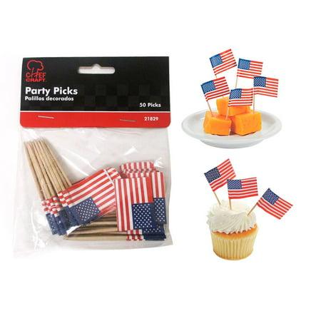 50pc Mini American Flag Toothpicks Party Cupcake Decoration Sandwich Picks Stick