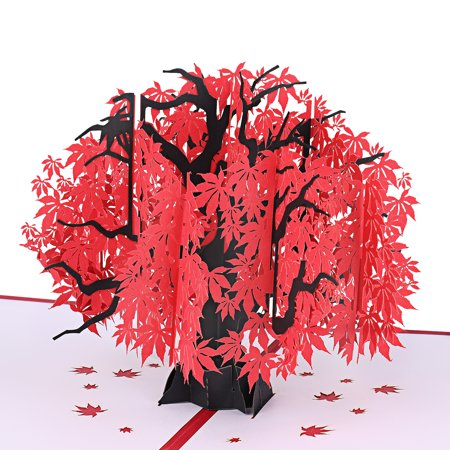 Happy Mothers Fay (Flower Pop Up Card All Occasion, 3D Japanese Maple Decorative Gift Greeting Cards w/ Envelope, for Valentine's Day Anniversary Wedding Mothers Day Happy Birthday Autumn, One Size - Red Maple)