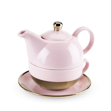Addison Tea for One Set by (Pink and Gold), TEA FOR ONE, anyone? This lovely set is a double-duty wonder: teapot on top, cup and saucer on the bottom! Steep your.., By Pinky Up Ship from US