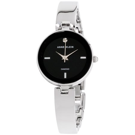 Anne Klein Women's Classic Black Dial Stainless Steel Watch Black Analogue Dial Watch