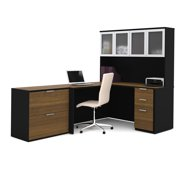 Pro-Concept L-Shaped Workstation with Lateral File in Milk Chocolate Bamboo & Black