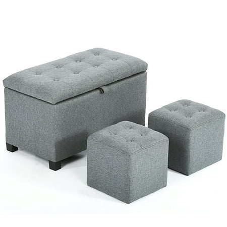 Ottoman Bench Storage Bench Bedroom Fabric Tufted Upholstered Stool Bench  Set With 3 Rectangular Footstools