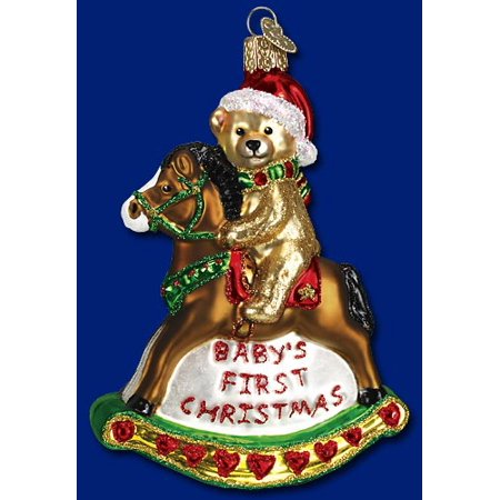 Babys First Christmas Rocking Horse Glass Old World Ornament 44034 FREE BOX New](Horse Christmas Ornaments)