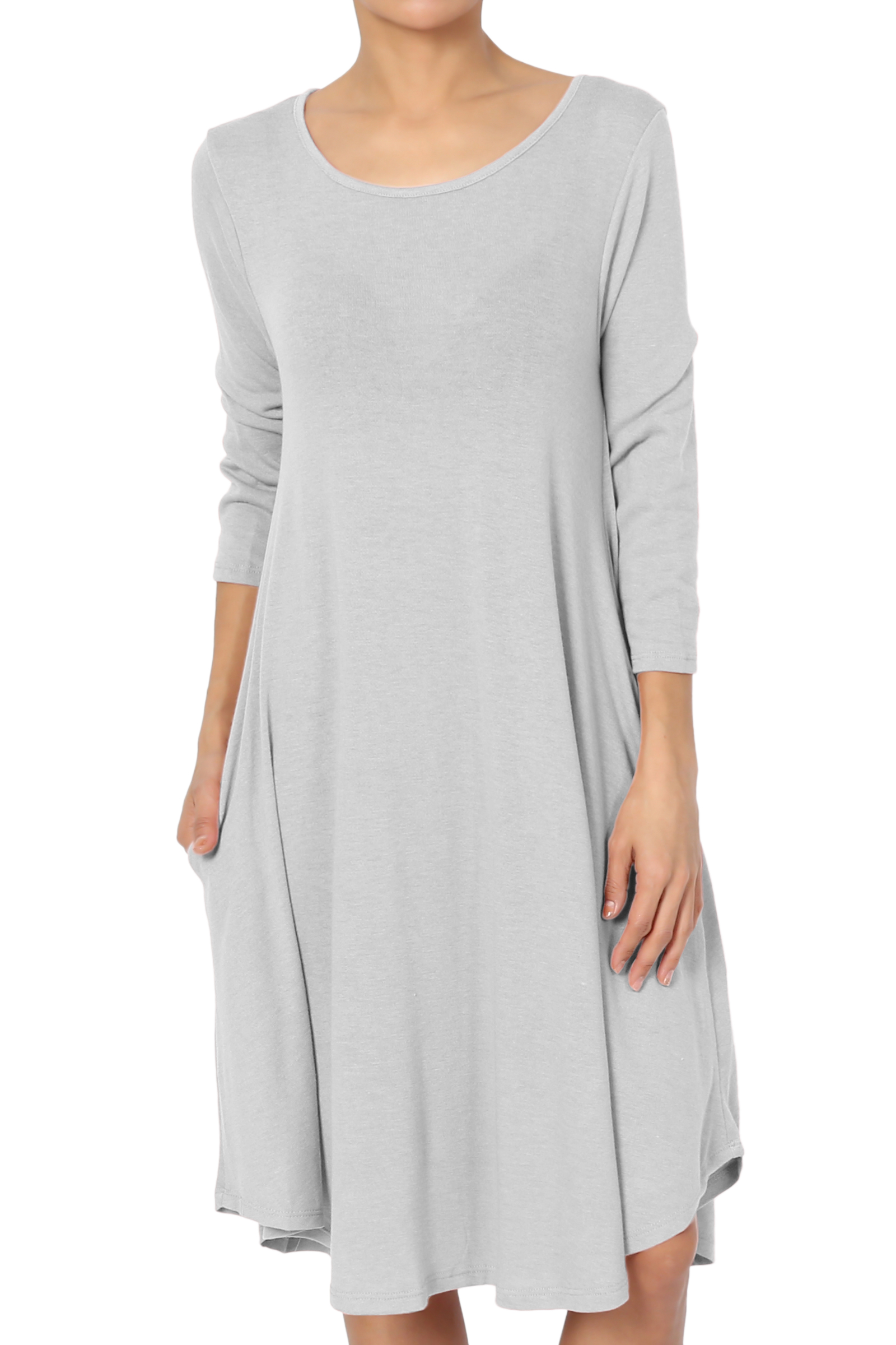 TheMogan Women's & Plus 3/4 Sleeve Soft Hacci Knit Fit and Flare Dress W Pocket