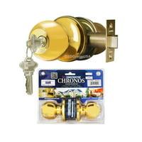 Constructor Chronos Entry Door Knob Handle Lock Set Polished Brass Finish