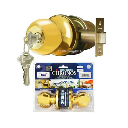 Brass Finish Door Locks (Constructor Chronos Entry Door Knob Handle Lock Set Polished Brass Finish)