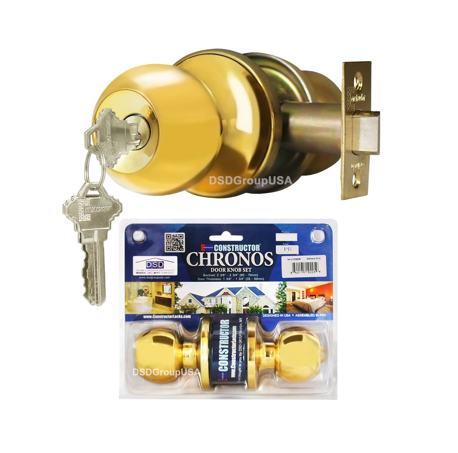Constructor Chronos Entry Door Knob Handle Lock Set Polished Brass Finish