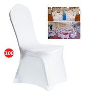 100 Pcs Universal Spandex Chair Covers for Wedding Supply Party Banquet Decoration, Folding Banquet Chair Cover White