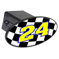 "24 Number Checkered Flag, Racing Nascar 2"" Oval Tow Trailer Hitch Cover Plug Insert"