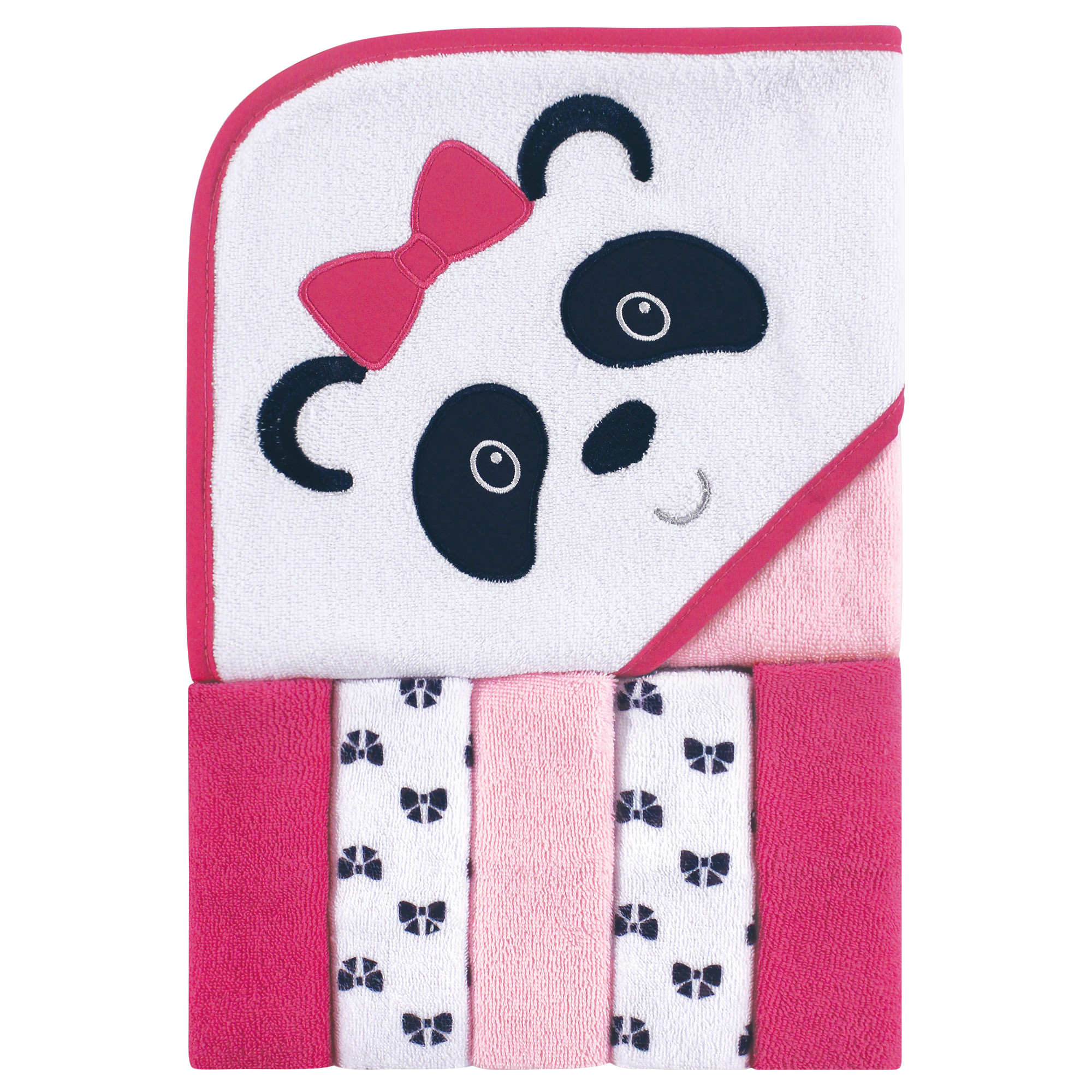 Size: One Size Baby Hooded Towel with 5 Wash Cloth Set Pink
