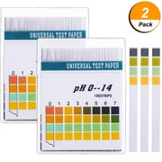 2 Packs PH 0-14 Test Paper Litmus Strips Tester, 100pcs Per Pack Universal PH Test Strips Urine Salive ph level testing strips for household drinking water,pools ,Aquariums,Hydroponics PH Tests