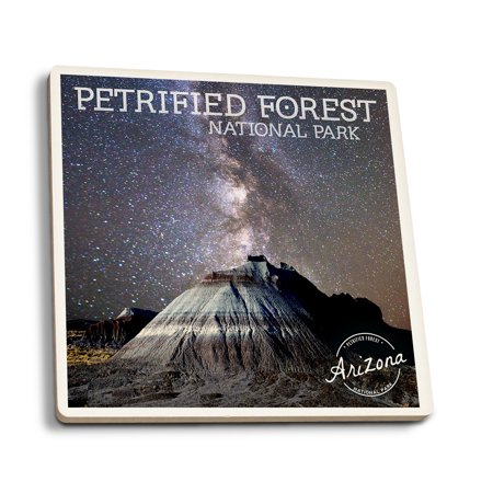 Petrified Forest National Park, Arizona - Painted Desert Night Sky - Lantern Press Photography (Set of 4 Ceramic Coasters - Cork-backed, Absorbent) ()