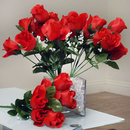 BalsaCircle 84 Silk Buds Roses Bouquets - DIY Home Wedding Party Artificial Flowers Arrangements - Silk Red Roses