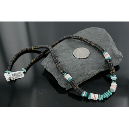 Handmade Certified Authentic Navajo .925 Sterling Silver Spiny Oyster, Turquoise and Graduated Heishi Native American Necklace