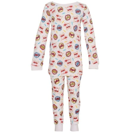 Vitamins Kids Little Boys White Dog Comics Lettrage 2 Pc Pyjama 2-4T