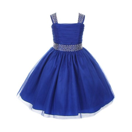 Cinderella Couture Little Girls Royal Blue Rhinestone Sleeveless Dress 2-6 (Couture Childrens Dresses)