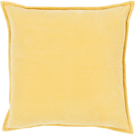 Crushed Velvet (Art of Knot Velvet Crush Hand Crafted Solid Cotton Decorative Pillow, Yellow )