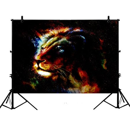 PHFZK 7x5ft Abstract Art Backdrops, Lion Painting Colorful Photography Backdrops Polyester Photo Background Studio Props - Detroit Lions Background