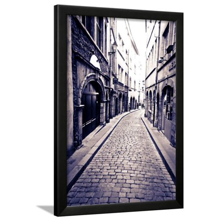 Cobblestone Street in Old Town Vieux Lyon, France Framed Print Wall Art By Russ