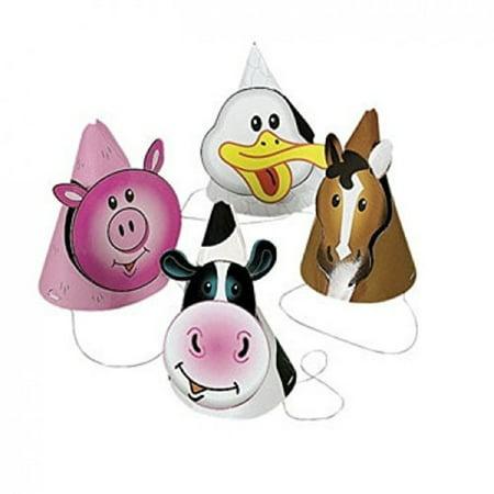 FX 8 ~ Farm/Barnyard Animal Party Hats ~ Approx. 6