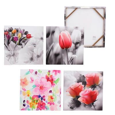New 202977  19.75In Square Framed Flower Canvas Art - Asst (6-Pack) Art Frame Cheap Wholesale Discount Bulk Stationery Art Frame Reading (Wholesale Reading Glasses)