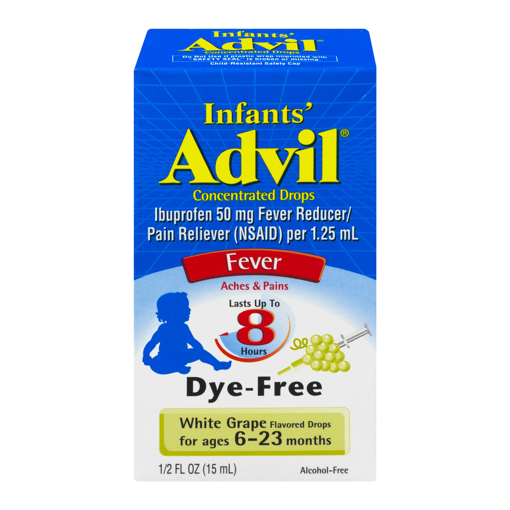 Infants' Advil Concentrated Drops Fever Reducer/Pain Reliever (Ibuprofen) in Dye-Free White Grape Flavor, 50 mg 0.5 fl oz
