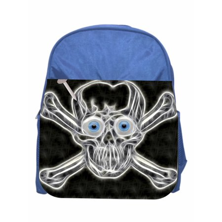 Skull & Crossbones Boys Blue Preschool Toddler Children's Backpack & Lunch Box Set (Boys Backpack And Lunchbox)