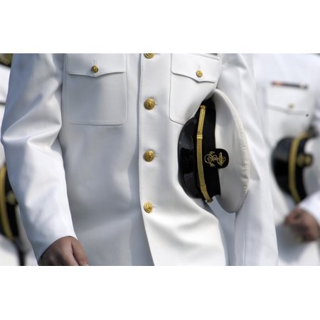 Us Naval Academy Midshipman In Dress Uniform With Combination Cover