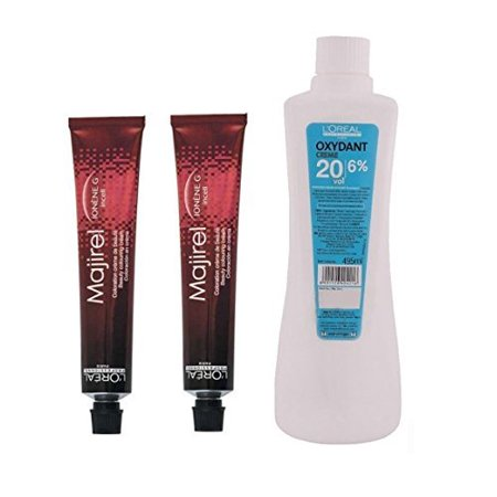 Loreal Majirel No. 6,52 Dark Mahogany Iridescent Blonde With Oxydant Creme 20 Vol 6% Developer (Set of 3)with mixing bowl +