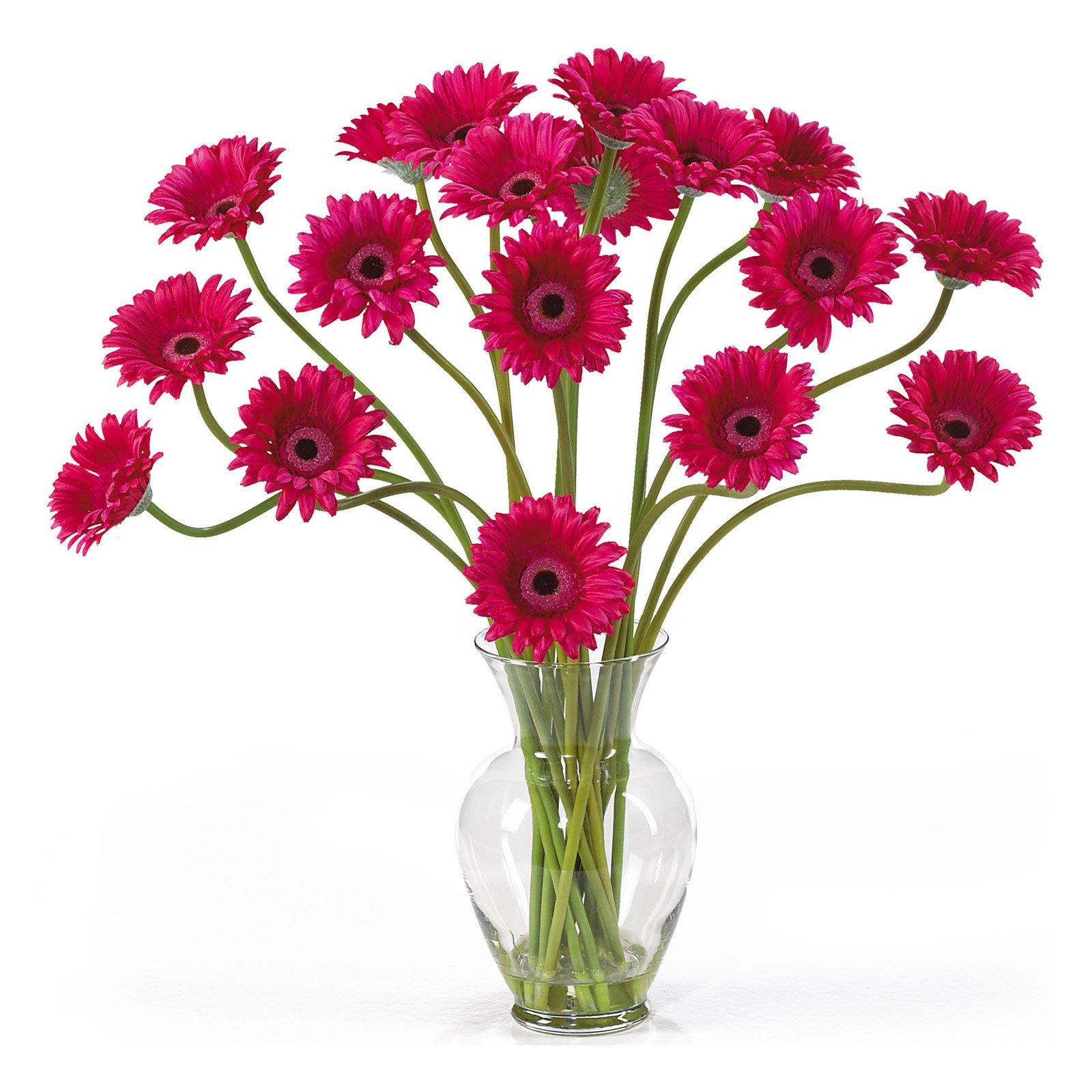 Nearly Natural Gerber Daisy Liquid Illusion Silk Flower Arrangement, Beauty