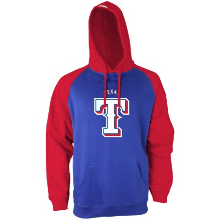 Texas Rangers Stitches Fleece Raglan Pullover Hoodie - Royal/Red