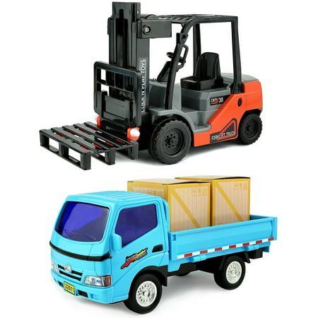 - Click N' Play Friction Powered, Pullback Forklift and Truck Play Set.